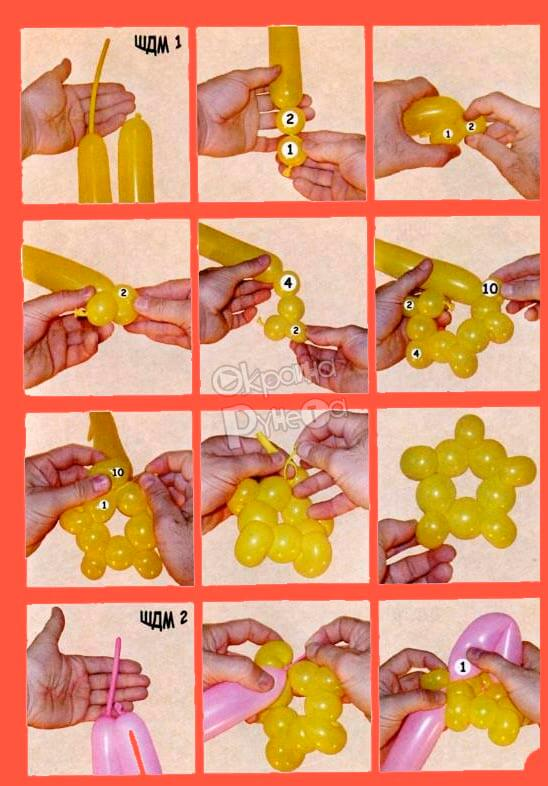цветок лотос из шариков схема